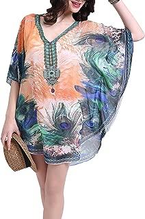 Ggloves Summer Beach Cover Ups for Women Bohemia Floral Chiffon Long Maxi Tunic Oversize Swimwear Swimsuit Bikini Dress Tops