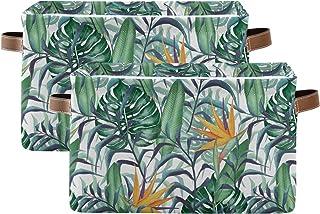 Lot de 2 boîtes de rangement avec poignée en cuir, plantes tropicales Strelitzia fleurs, étanches, pliables pour salle de ...