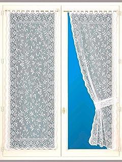 CARRE D AZUR Unisexe Rideaux Bonne Femme Couleur : Blanc larg 90 cm Taille : 120X90 feuillages