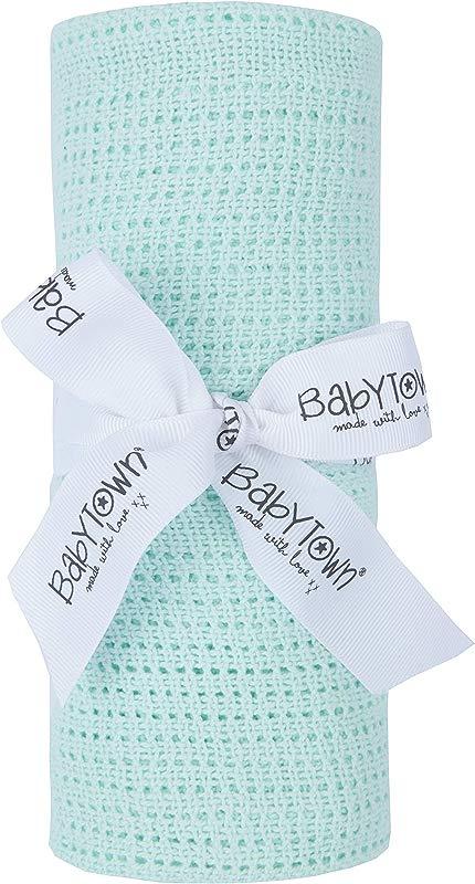90 X 70cm 100 Cotton Cellular Baby Blanket Mint
