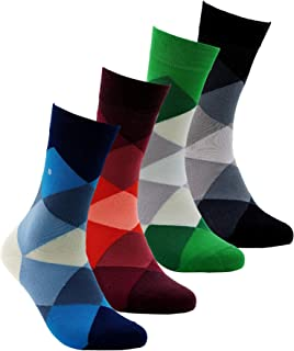Colorful Patterned Bamboo Socks for Men&Women / Natural Soft&Breathable Seamless 4 Pack Casual or Dress Socks