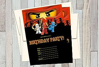 12 NINJAGO Birthday Invitations (12 5x7in Cards, 12 matching white envelopes)