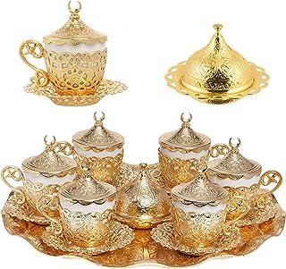Alisveristime 27 Pc Turkish Greek Arabic Coffee Espresso Cup Saucer Set (Gelincik) Gold