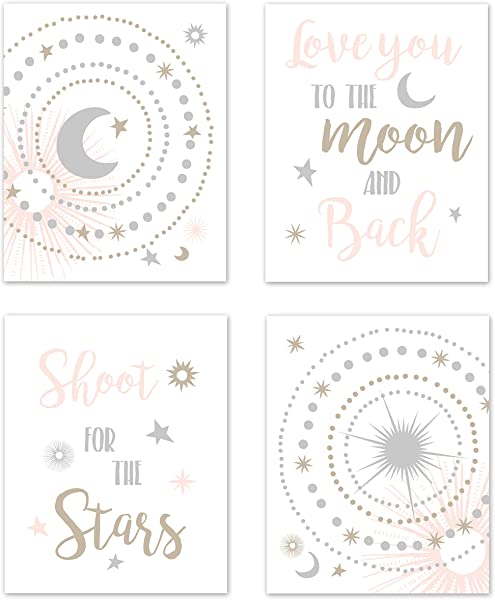 Sweet Jojo Designs Blush Pink Gold Grey And White Star And Moon Wall Art Prints Room Decor For Baby Nursery And Kids For Celestial Collection Set Of 4 Shoot For The Stars