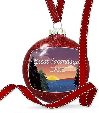 NEONBLOND Christmas Decoration Lake Retro Design Great Sacandaga Lake Ornament