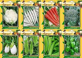 Zoomyはるか:カリフラワー、大根、赤ニンジン、ブロッコリー、レディーフィンガー、グリーントウガラシは、ホワイトラウンドナスとゴーヤ野菜の種+ 2より花の種無料サンプル(50種*パケットごと8のパック)