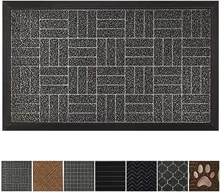 GRIP MASTER Durable All-Natural Tough Rubber Doormats, 29x17 Size, Waterproof Boots Scraper Mats, Commercial Heavy Duty Indoor Outdoor Door Mat, Low-Profile Easy Clean, Charcoal Stripes