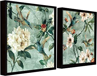 Painting Mantra Floral Canvas Painting for Wall with Frame Black, Bird Floral Painting for Living Room Size : 13x13 Inches