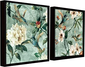 Painting Mantra Bird Floral Theme Set of 2 Framed Canvas Painting Art Print - 13x13 Inchs