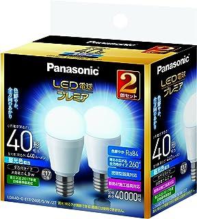 パナソニック LED電球 プレミア 口金直径17mm 電球40W形相当 昼光色相当(4.0W) 小型電球・全方向タイプ 2個入 密閉形器具対応 LDA4DGE17Z40ESW2T