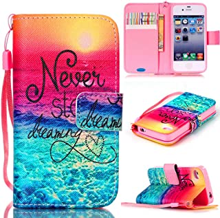 JanCalm iPhone 4S Case,iPhone 4 Case, [Wrist Strap Design][Kickstand] Pattern Premium PU Leather Wallet [Card/Cash Slots] Flip Cover for iPhone 4/4S (3.5 Inch) Including-ONE Crystal Pen (Never Stop)