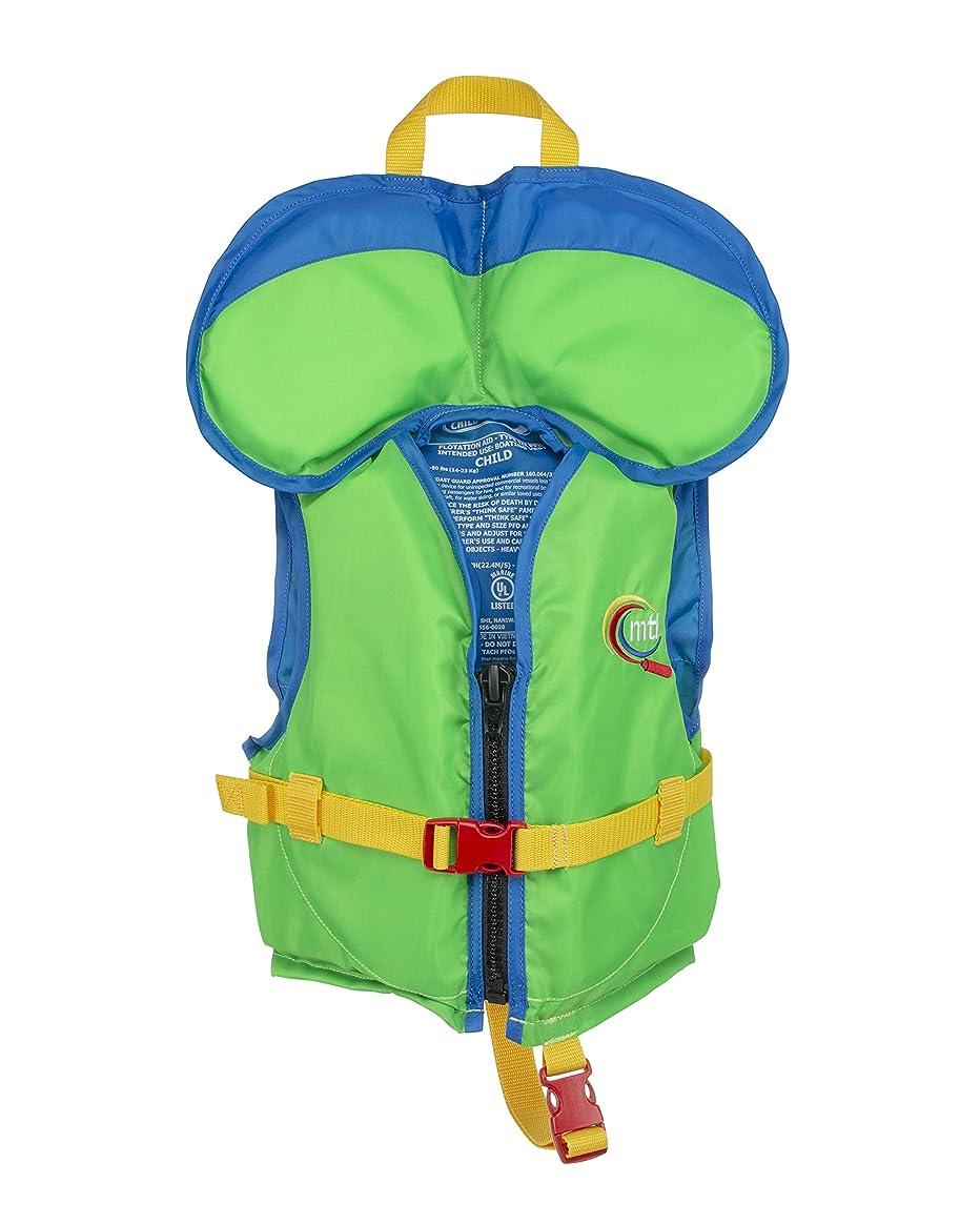 MTI Child w/Collar Life Jacket - Bright Green/Blue - Child (30-50 lb)