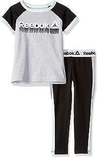 Reebok 女童短袖印花 T 恤和套穿紧身裤套装