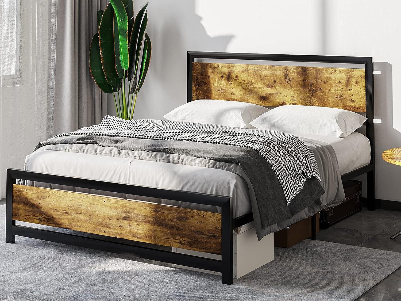 Max 48% OFF ADORNEVE Queen Bed Frame Sacramento Mall Metal Platform Headboard with Wooden