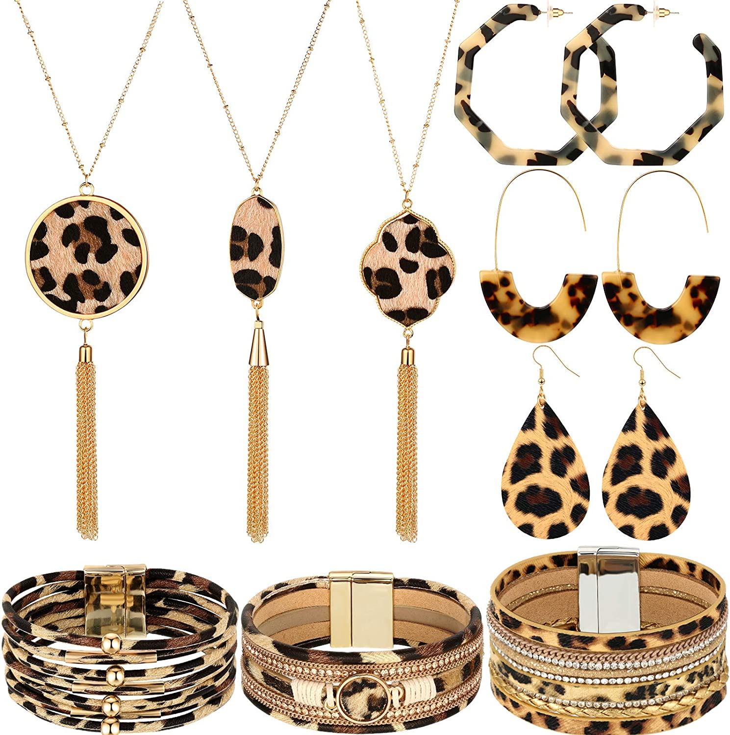 Yaomiao 9 Pieces Leopard Print Jewelry Set Leopard Leather Bracelets Dangle Earrings and Necklaces for Women