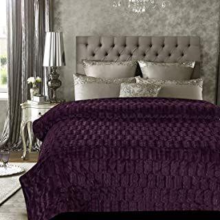 Chanasya Super Soft Fuzzy Faux Fur Elegant Rectangular Embossed Throw Blanket | Fluffy Plush Sherpa Microfiber Purple Blanket for Bed Couch Living Room Fall Winter Spring King Blanket - Aubergine