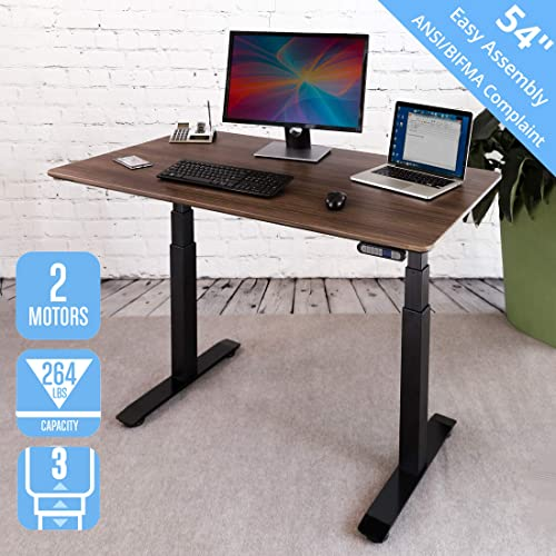 """Seville Classics AIRLIFT Pro S3 54"""" Solid-Top Commercial-Grade Electric Adjustable Standing Desk (51.4"""" Max Height) Table, Black/Walnut"""