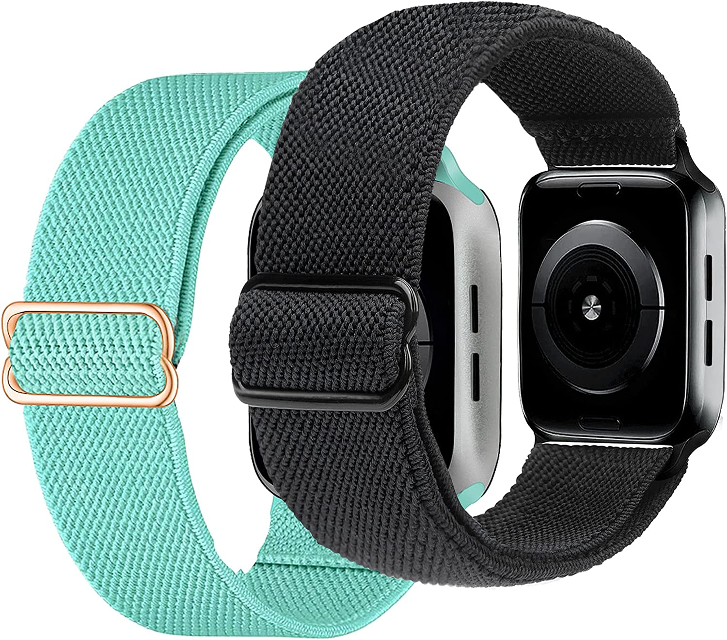 ULUQ Compatible with Apple Watch Bands 40mm 38mm for iWatch Series 6 5 4 3 2 1 SE, Adjustable Stretch Nylon Strap, Sport Elastics Wristbands Women Men