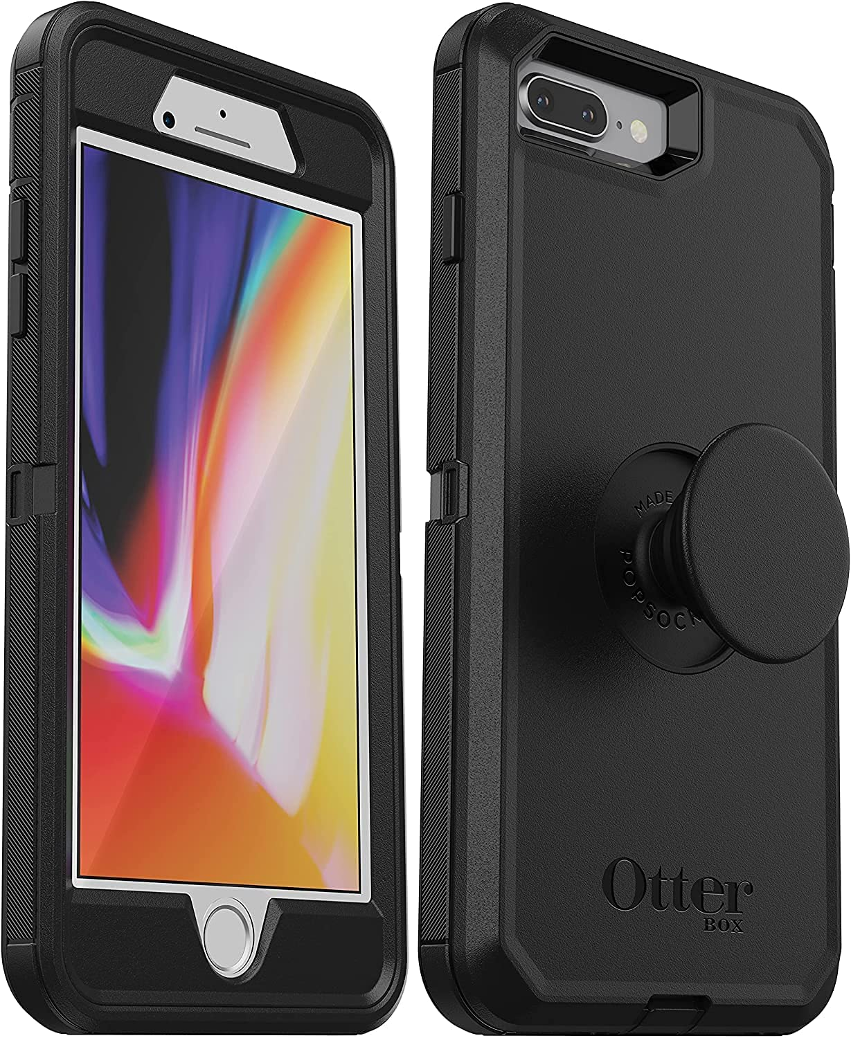 OtterBox + Pop Defender Series Case for iPhone SE (2020), iPhone 8, iPhone 7 (ONLY - NOT Plus) Non-Retail Packaging - Black