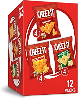 Cheez-It Variety Pack Cheese Crackers - Original, White Cheddar, Cheddar Jack, Single Serve Packaging,1.02 oz Bags (12 Count)
