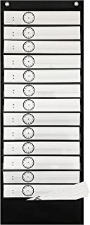 Daily Schedule and Word Study Pocket Chart with Reversible Dry Erase Cards - by Essex Wares - Use to Plan Your Classroom's Day or Display Daily Study Words (Black)