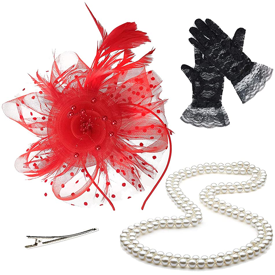 Fascinators 20s 50s Hats for Womens,Cocktail Party Hat,Tea Party Wedding Headband,w/Pearl Necklace & Lace Gloves