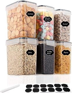 Aitsite Lot de 6 boîtes de conservation hermétiques pour aliments sans BPA, idéales pour le sucre, la farine et les fourni...