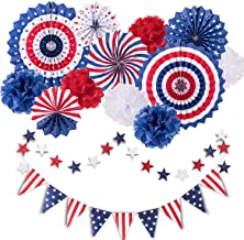 Whaline 14Pcs Patriotic Party Decorations Set, American Flag Party Supplies Hanging Paper Fans, Paper Flower Balls, Star Streamers, USA Flag Pennant Bunting Party Favors for American Theme Party
