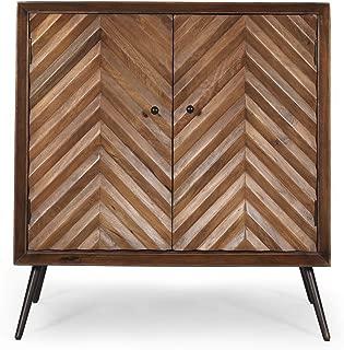 Great Deal Furniture Charlotte Mid-Century Modern Handcrafted Mango Wood Sideboard, Dark Brown