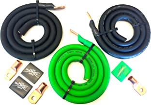 Sky High Oversized 2/0 Gauge AWG Big 3 Upgrade Green/Black Electrical Wiring Kit