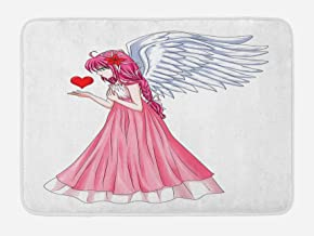 Ambesonne Anime Bath Mat, Fairytale Character Angel in a Pink Dress Holding a Heart Romantic Valentines Day, Plush Bathroom Decor Mat with Non Slip Backing, 29.5