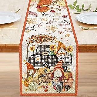 Bonsai Tree Fall Table Runner 108 Inches, Happy Autumn Yall Gnomes Pumpkins Burlap Table Runners, Rustic Buffalo Plaid Tru...