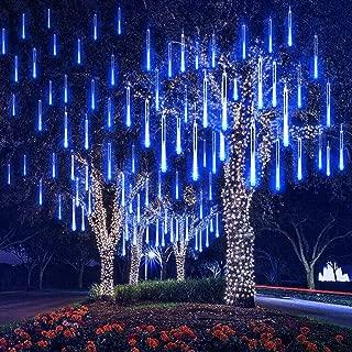 EEIEER LED luces de la lluvia de meteoritos, 30cm 8 tubo luces de cadena de 192 LED Falling Rain Drop Carámbano Snow Fall String luces a prueba de agua para las vacaciones árbol de Navidad