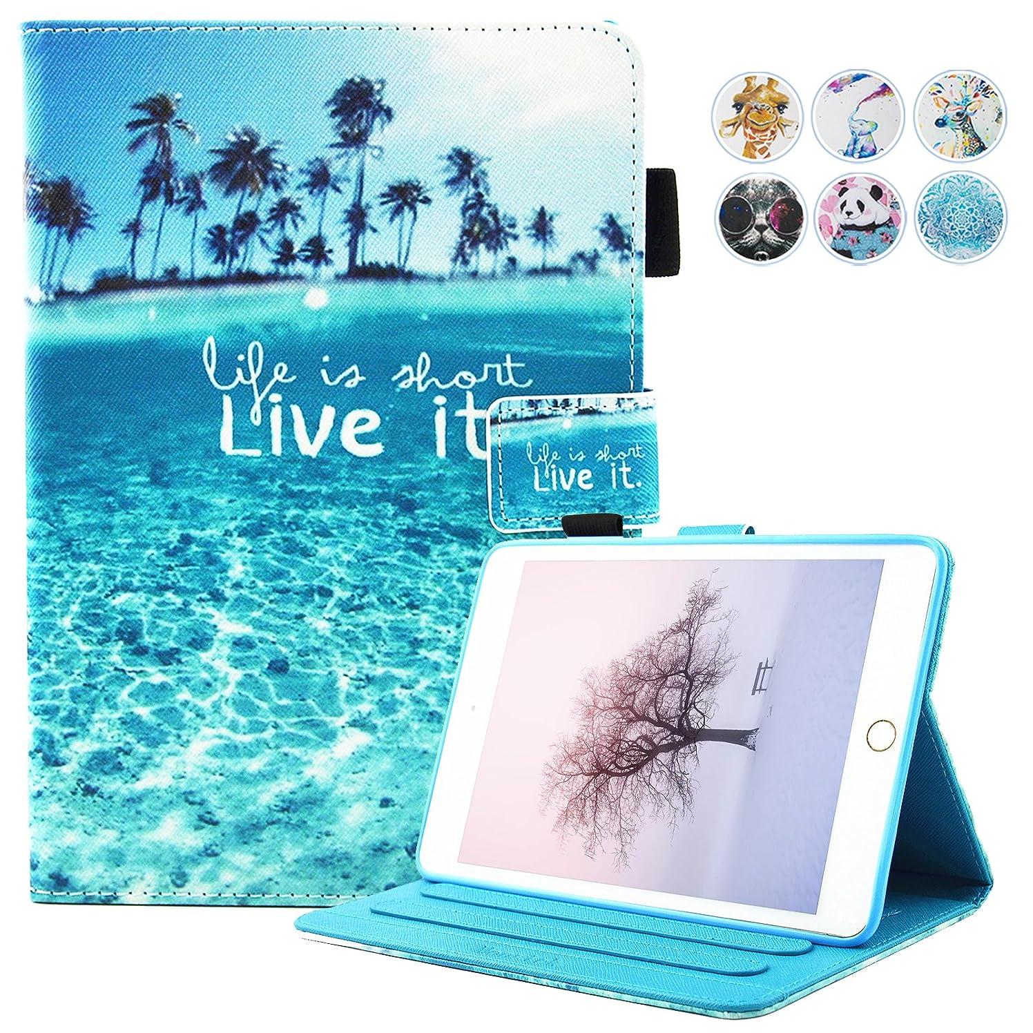 iPad Mini Case,Mini 2/3 Case Monstek(TM) Leather Smart Kickstand Case Cover Colorful Flip Wallet Protective Case for Apple iPad Mini 1 2 3 - 01 Beach