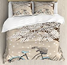 Ambesonne Bicycle Duvet Cover Set, Blossoming Tree with Little White Flowers in The Spring and a Bike Sketch Artwork, Decorative 3 Piece Bedding Set with 2 Pillow Shams, King Size, Grey Yellow