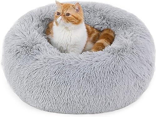Bedsure Panier Chat Rond Moelleux - Coussin Chat Apaisant en Peluche Doux et Confortable - Lit pour Chat Lavable et A...