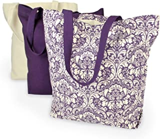 DII 100% Cotton, Machine Washable Heavy Duty Canvas Reusable Shopping Tote Bag, Natural and Eggplant Damask, Set of 3