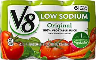 V8 Low Sodium 100% Vegetable Juice, 5.5 oz. Can, 6 Count