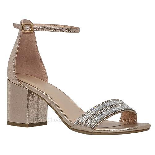 ee98b0f8de MVE Shoes Women's Open Toe Single Band Buckle Ankle Strap Chunky Low Mid  Block Heel Sandal