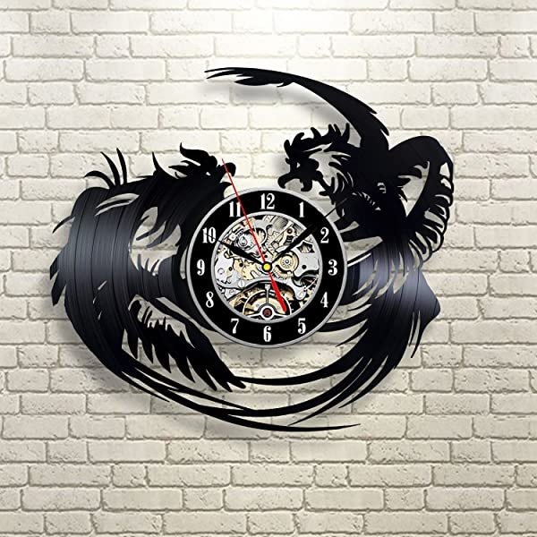 Fighting Roosters Gift Wall Clock Vinyl Record Art Decor Retro