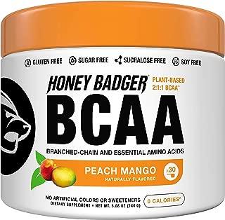Honey Badger Vegan Keto BCAA - EAA Electrolyte Powder | Peach Mango | Natural Gluten Free Amino Acids Essential Aminos Sugar Free + Sucralose Free | 30 Servings