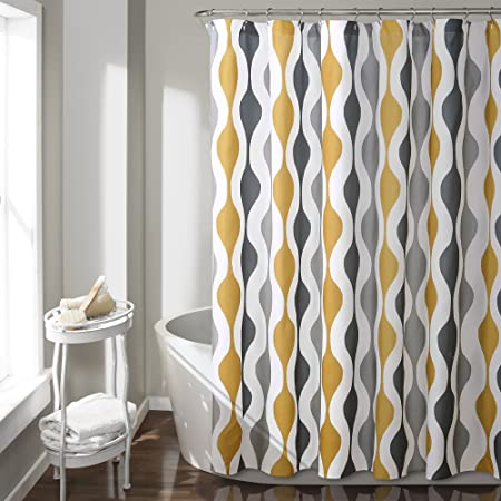 Yellow Shower Curtain Set White Geometric Bathroom Fabric Shower Curtain Heavy Duty Curtains For Bathtubs Colorful Cute 72 By72 Inch White Black Yellow Home Kitchen