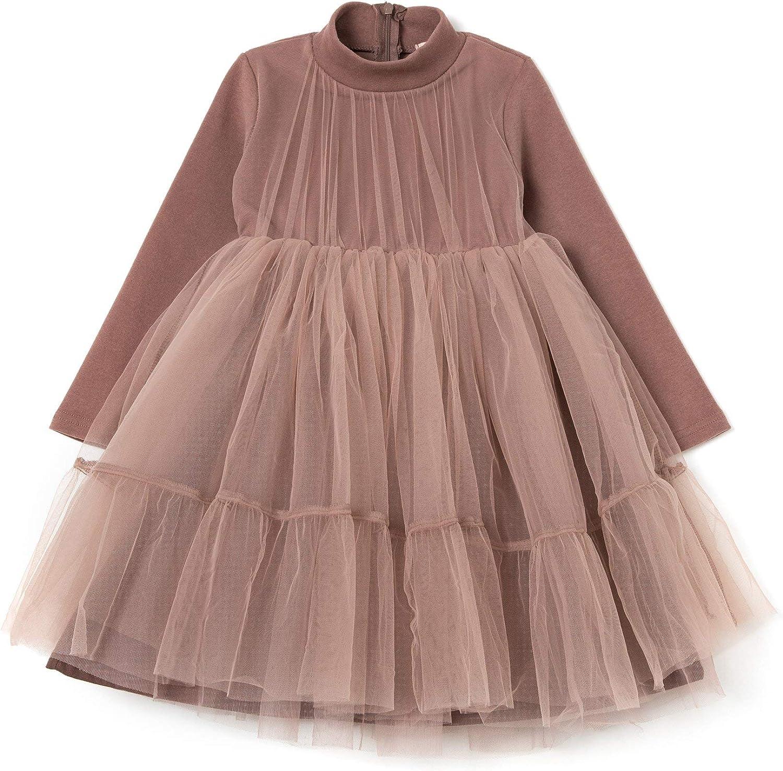 MooMooz Little Girls lace Tulle Dress Long Sleeve Flower Girl Wedding Princess Party Dress