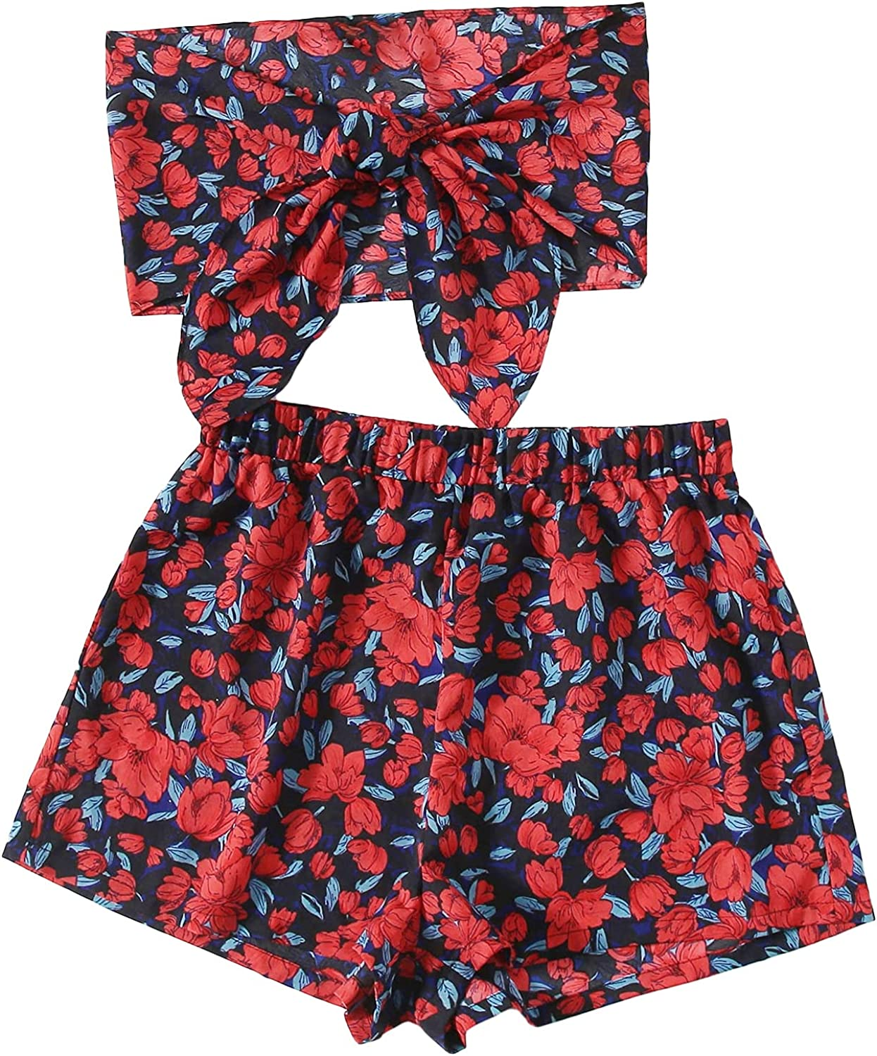SheIn Women's Plus Boho Strapless Bandeau Tie Front Crop Top and Shorts Set