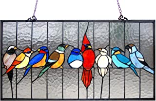 Chloe Lighting Tiffany-Glass Featuring Birds in The Cage Window Panel 24.5X13
