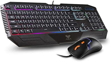 Beastron PC Gaming Keyboard Mouse Combo,RGB Gaming 104 Keys Wired USB Computer Keyboard for Windows Computer Gamers