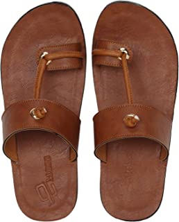 Emosis Men's Slipper Cum Sandal - Latest & Stylish Synthetic Leather - for Outdoor Formal Office Casual Ethnic Daily Use - Available in Tan Brown Black Color - 0210M