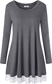 Women's Long Sleeve Tunic Tops with Pockets Loose Fit Lace Dress Tshirt Blouse