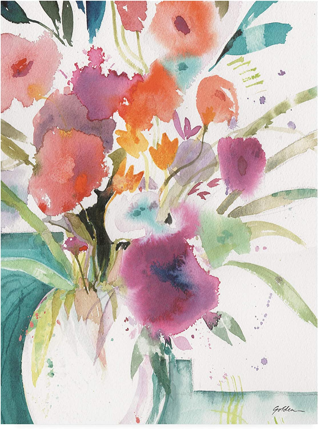 Trademark Fine Art Bright Flowers 5 by Sheila golden, 14x19