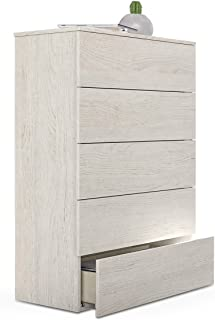 Habitdesign 007821Y - Sinfonier 5 cajones, Comoda Dormitorio, Modelo Hera, Medidas: 61 x 109 x 40 cm de Fondo (Blanco Alpes)